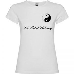 Camiseta para mujer The Art of Falconry Yin Yang en color blanco