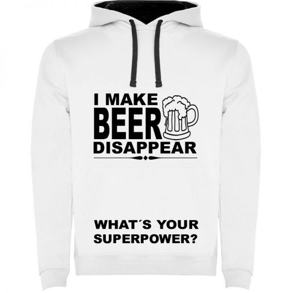 Sudadera para hombre divertida I Make Beer Disappear What´s Your Superpower? color Blanco