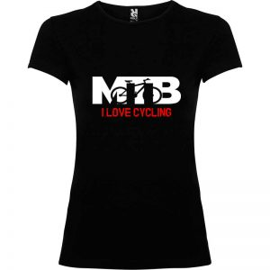 Camiseta para mujer MTB I Love Cycling en color Negro