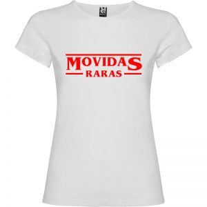 Camiseta para mujer Stranger Things Movidas Raras en color Blanco