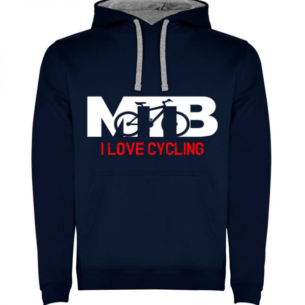 Sudadera para hombre con capucha MTB I Love Cycling en color Azul Marino