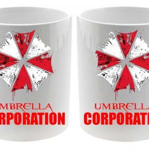 Taza cerámica Umbrella Corporation Resident Evil Detalle logos