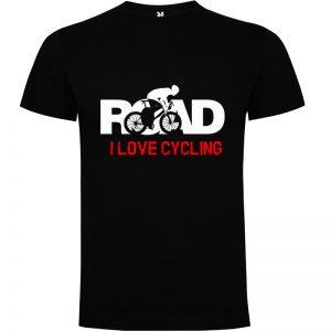 Camiseta para hombre MTB I Love Cycling Road en color Negro